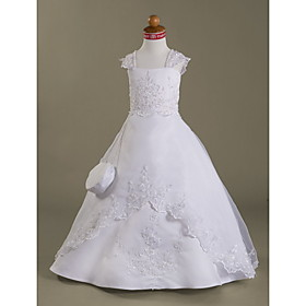 Ball Gown Capped Floor-length Satin Organza Flower Girl Dress