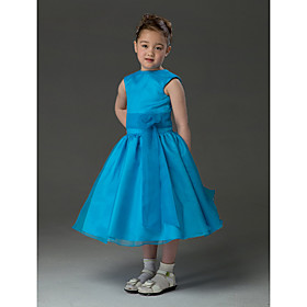 Ball Gown Jewel Knee-length Taffeta Organza Flower Girl Dress