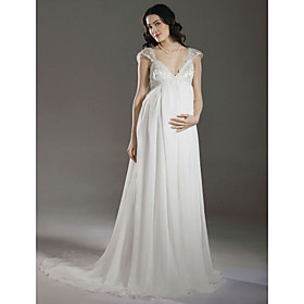 Sheath/ Column Empire V-neck Court Train Chiffon Maternity Wedding Dress