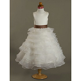 Ball Gown JewelTea-length Satin Organza Flower Girl Dress
