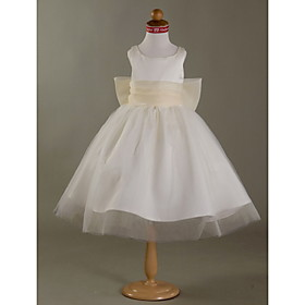 Ball Gown Scoop Satin Tulle Flower Girl Dress