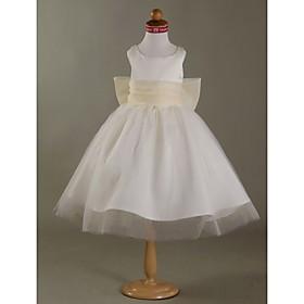 Ball Gown Scoop Satin Tulle Flower Girl Dress