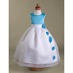 A-line Scoop Tea-length Satin Organza Flower Girl Dress