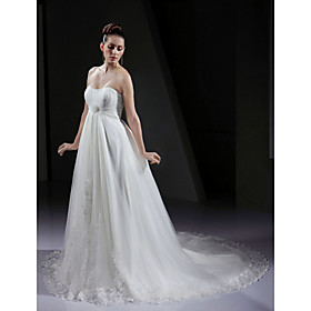 A-line Empire Strapless Court Train Wedding Dress With 3D Floral
