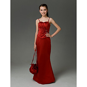 Trumpet/Mermaid Sweetheart Floor-length Satin Junior Bridesmaid Dress