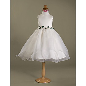 Ball Gown Bateau Knee-length  Satin  Organza Flower Girl Dress