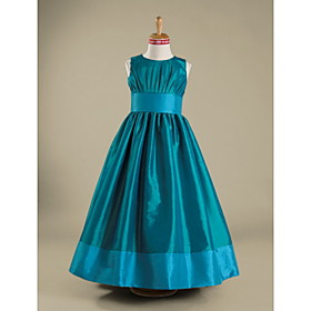 A-line Jewel Tea-length Taffeta Junior Bridesmaid Dress (WSD0309)