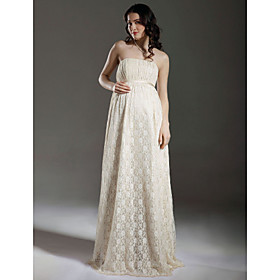 Sheath/ Column Empire Strapless Floor-length Lace Maternity Wedding Dress
