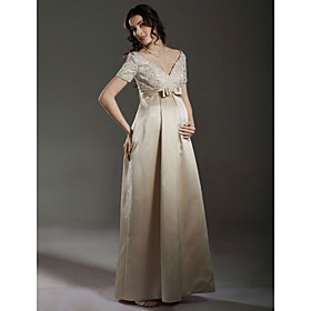 Sheath / Column Empire V-neck Floor-length Satin Maternity Wedding Dress