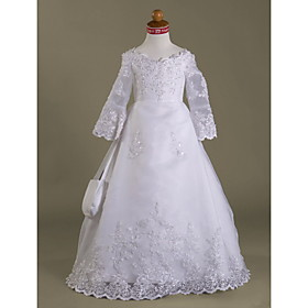 A-line V-neck Floor-length Satin Organza Flower Girl Dress / First Communion Dress