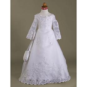 A-line V-neck Floor-length Satin Organza Flower Girl Dress / First Communion Dress