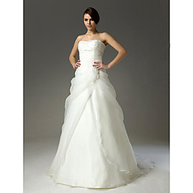 A-line Sweetheart Court Train Satin Organza Wedding Dresses for Bride (HSX272)