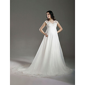 Empire V-neck Court Train Satin Organza Lace Maternity Wedding Dress