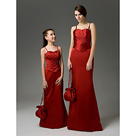 Sheath / Column Sweetheart Floor-length Satin Junior Bridesmaid Dress (HSX100)