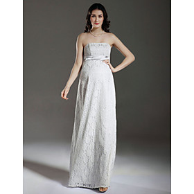 Sheath/ Column Empire Strapless Floor-length Satin Lace Maternity Wedding Dress