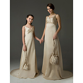 A-line V-neck Sweep/ Brush Train Satin Junior Bridesmaid Dress