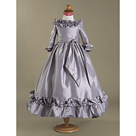 Ball Gown Bateau Floor-length Taffeta Flower Girl Dress