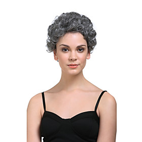 Capless Short High Quality Synthetic Natural Look Grey With White Curly Hair Wig