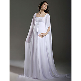 Sheath/ Column Empire Square Floor-length Chiffon Maternity Long Sleeve Wedding Dress