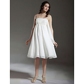 A-line Empire Spaghetti Straps Knee-length Chiffon Maternity Wedding Dress