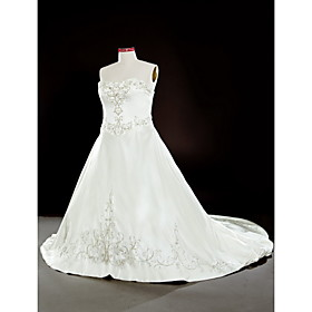 A-line/ Princess Sweetheart Chapel Train Satin Plus Size Wedding Dress With Beaded Embroidery