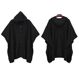 Wool Short Bat Sleeves Hooded Longline Women's Cardigans(1001BC017-0751)
