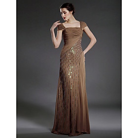 Sheath/ Column Square Neckline Floor-length Chiffon Matte Satin Mother of the Bride Dress