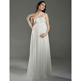 Sheath/ Column One Shoulder Floor-length Chiffon Over Satin Maternity Wedding Dress