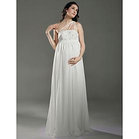 Sheath/ Column One Shoulder Floor-length Chiffon Over Satin Maternity Wedding Dress