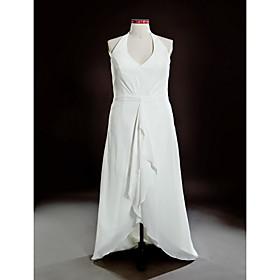 Sheath/ Column Halter Asymmetrical Chiffon Over Satin Plus Size Wedding Dress