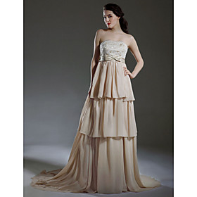 Empire Strapless Court Train Satin Chiffon Tiered Wedding Dress (WSW0164)