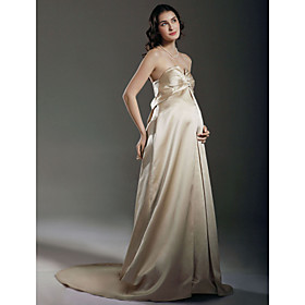 Sheath/ Column Empire Sweetheart Court Train Satin Maternity Wedding Dress