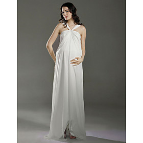 Sheath/ Column Empire Halter Floor-length Chiffon Maternity Wedding Dress