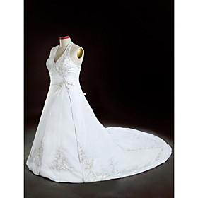 a-line Halfter Kapelle Zug Satin plus size Hochzeitskleid