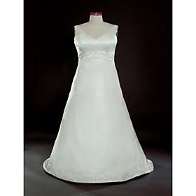 a-line V-Ausschnitt Sweep / Pinsel Zug Satin plus size Hochzeitskleid