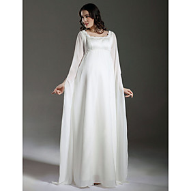 Sheath/ Column Empire Square Floor-length Satin Chiffon Maternity Wedding Dress with Split Front