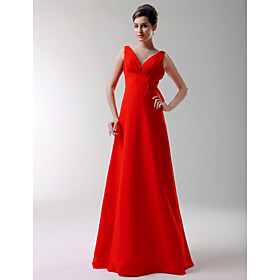 2009 Style A-Line V-neck Floor-length Elastic Silk-like Satin Bridesmaid/ Wedding Party Dress (HSX162)