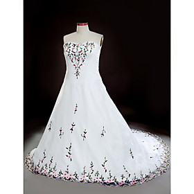 A-line Sweetheart Court Train Embroidery Organza Plus Size Wedding Dress