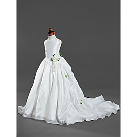 Ball Gown Spaghetti Straps Court Train Taffeta Satin Flower Girl Dresses / First Communion Dresses