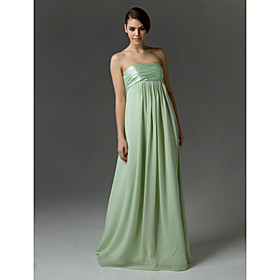 2010 Style Empire Strapless Floor-length Sleeveless Chiffon/ Elastic Silk-like Satin Ruffles Bridesmaid Dress (FSH0636)