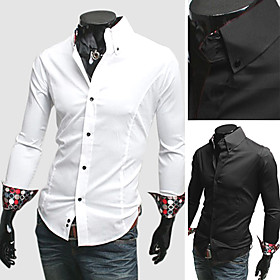 Mens Casual Slim Fit Fashion Shirt with Luxury Cuff Long Sleeve Black and White