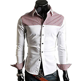 Black And White Color Placket Collision 2010 Runway Long Sleeve Casual Shirt (0482-4.15-13)
