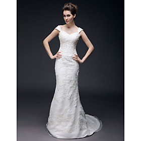Trumpet/ Mermaid Off-the-shoulder Sweep/ Brush Train Organza Wedding Dress