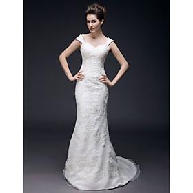 Trumpet/ Mermaid Off-the-shoulder Sweep/ Brush Train Satin Organza Wedding Dress (HSX1136)