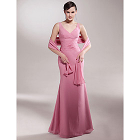 Trumpet/ Mermaid V-neck Floor-length Chiffon Mother of the Bride Dress With A Wrap