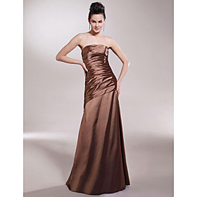 Sheath/ Column Strapless Floor-length Sleeveless Elastic Satin Bridesmaid/ Wedding Party Dress