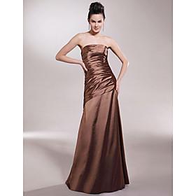 Sheath/ Column Strapless Floor-length Sleeveless Elastic Satin Bridesmaid/ Wedding Party Dress