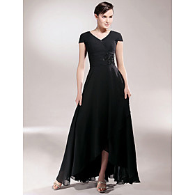 Sheath/ Column V-neck Asymmetrical Elastic Woven Satin Chiffon Mother of the Bride Dress