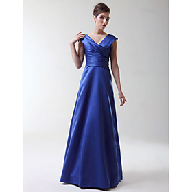 2009 Style A-line V-neck Satin Bridesmaid/ Wedding Party Dress (HSX220)