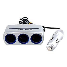 Triple-way Portable Car Cigarette Lighter Charger Socket Splitter  - 12V - Portable lp-817